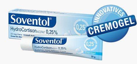 Soventol HydroCortison Acetat 0,25% Creme Spar-Set 3x20g. Sanft, schnell und kühlend bei bei akuten und leichteren Haut-Irritationen wie gereizter Sommerhaut, bei Hautentzündungen sowie bei Juckreiz